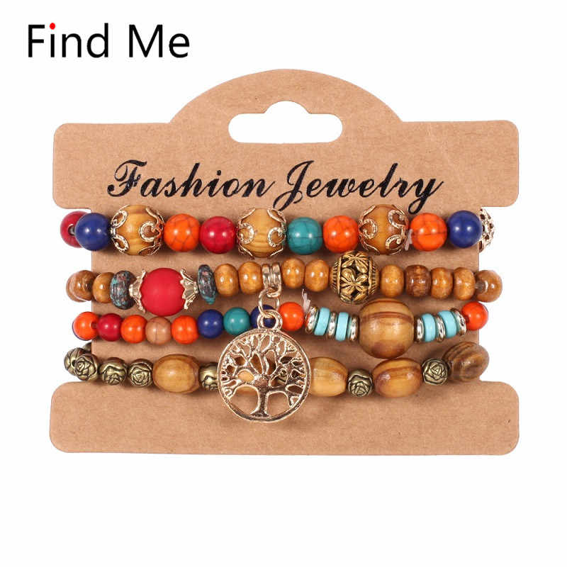 Find Me 2019 Fashion Vintage Ethnic leave long chain big bead Bracelets Boho Statement Flower Bracelet Bangles for Women Jewelry