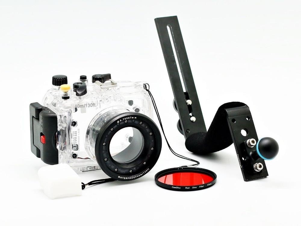 Para Sony DSC-RX100 III RX100-III RX100III 40 m/130ft Meikon Caixa Da Câmera Subaquática de Mergulho Caso kit, Mergulho de alumínio Lidar Com
