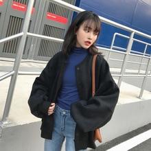 Women Autumn Cardigans Harajuku Loose Long Sleeves Round Neck Female Coat Sweater MSJ99 dark grey knitting long sleeves loose cardigans