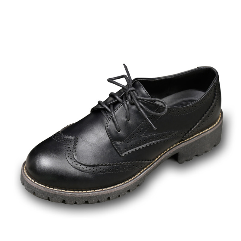 High Quality Women oxfords Flats Platform shoes Leather Round Toe Lace-up Brogue Party shoes vintage black  Loafers size35-40 qmn women crystal embellished natural suede brogue shoes women square toe platform oxfords shoes woman genuine leather flats