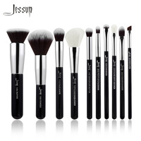 Jessup Brand Black Silver Professional Makeup Brushes Set Make Up Brush Tools Kit Foundation Powder Buffer