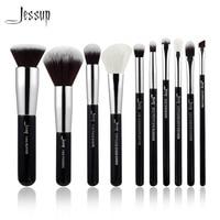 Jessup Brand Black Silver Professional Makeup Brushes Set Make Up Brush Tools Kit Foundation Powder Buffer