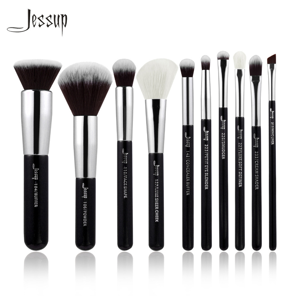 Jessup Brand Black/Silver Professional Makeup Brushes Set Make up Brush beauty Tools kit Foundation Powder Buffer Cheek Shader new jessup brand 5pcs black silver professional makeup brushes set cosmetics tools beauty make up brush foundation blush powder