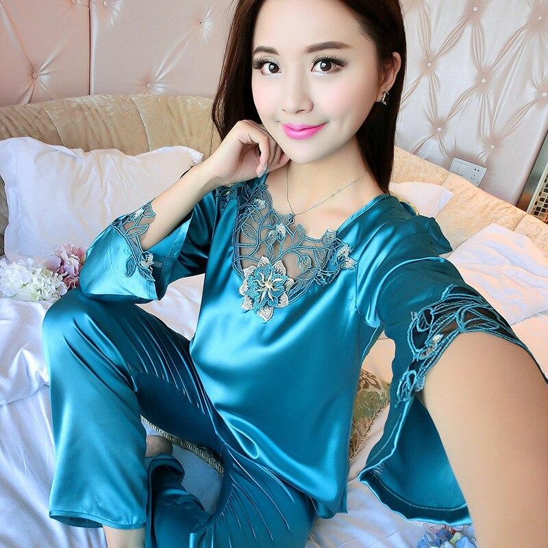 2019 All Seasons Long Sleeve Silk Pajamas Suit Women Lounge Pajama Sets Silk Satin Pijama Sleepwear Pyjamas 25