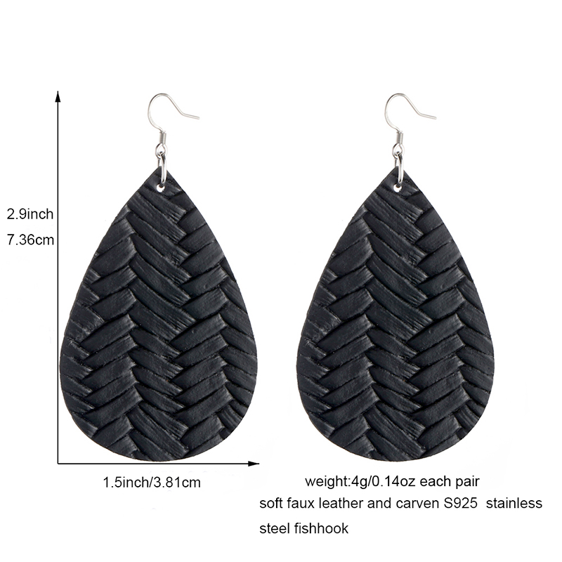 New Teardrop Leather Earrings Petal Drop Earrings Antique Lightweight S925 Carved Stainless Steel Earrings For Women Gifts 5