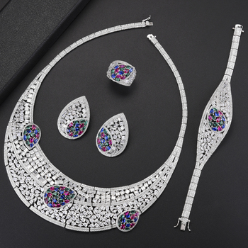 missvikki Bridal Jewelry Sets Wedding Party Costume Jewellery Brides Accessories Necklace/Earrings/Ring/Bracelet Jewelry Set