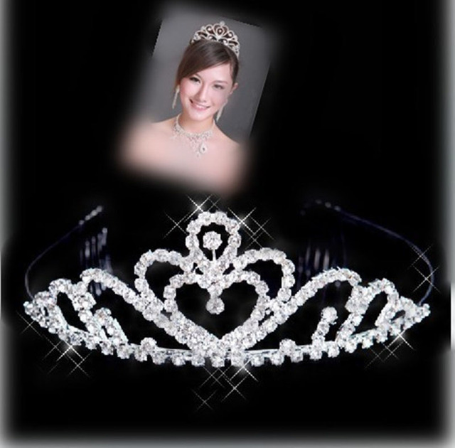Women Bridal Wedding Hair Accessories Silver Color Jewelry Diadem Crown Tiaras S