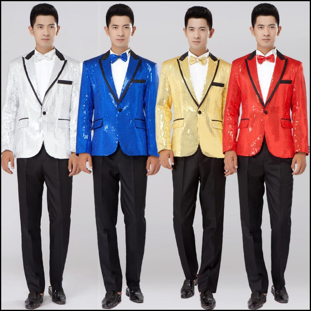 China international clothing city  2017 New Paillette suits men clothing Sequined suit formal dress singer stage costume Groom groomsmen wedding dress Suit +pants
