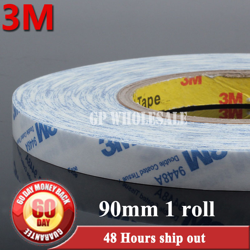 90mm*50M*0.15mm 3M Strong Double Coated Adhesive Tissue Tape, Widely Using for Tablet, Cellphone, GPS, Automotive Panel, Screen