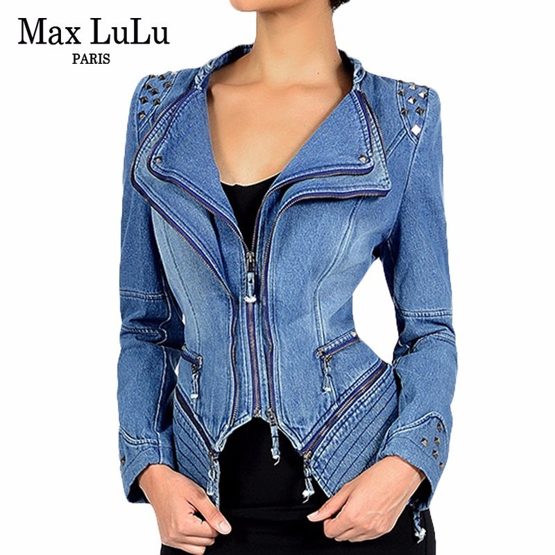 Max LuLu Autumn Luxury Vintage Girls Slim Clothes Womens Denim Jacket Bomber Chaqueta Mujer Woman Jeans Biker Coat Plus Size 6XL jeans woman autumn winter 2018 girl elegant denim rompers womens jumpsuit with hoodies plus size streetwear leotard high quality