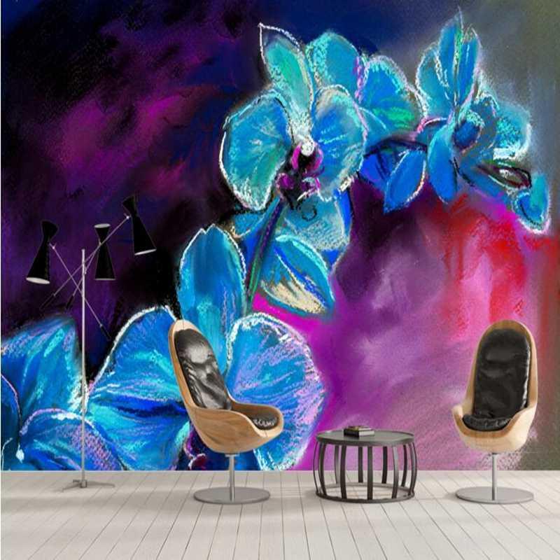 Custom Photo Wallpaper Hand Painted Orchid Desktop Wallpaper Hd 3d Living Room Decorating Ideas Dining Room Wall Art Restuarant Wallpapers Aliexpress