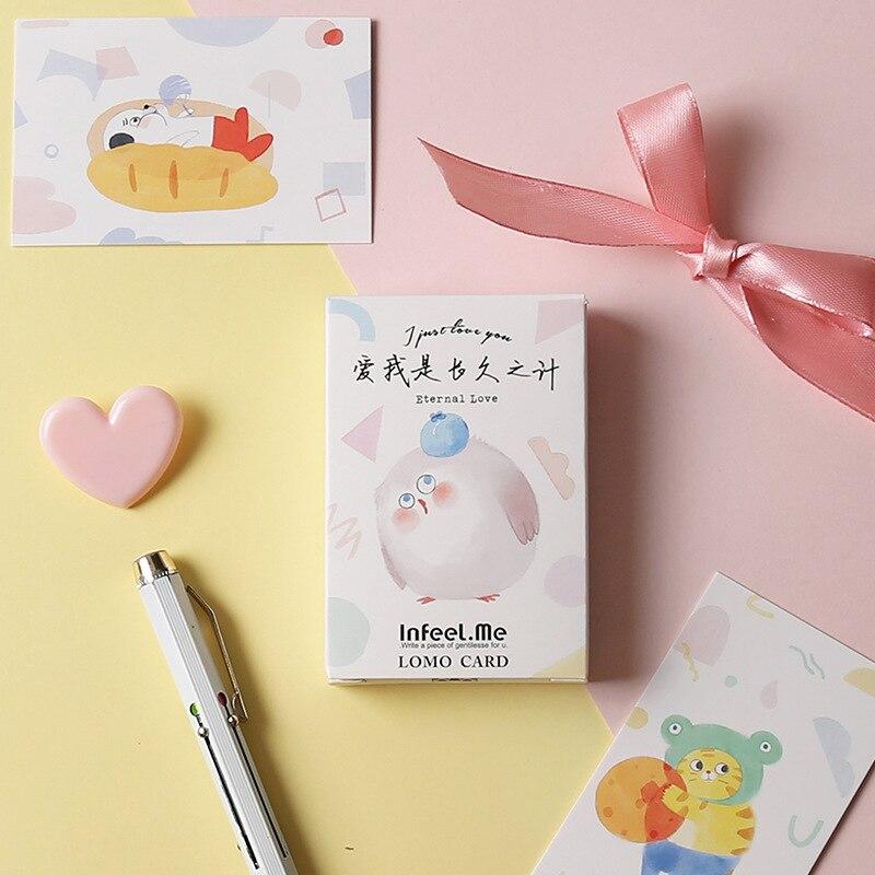 28 Sheets/Set Chicken Cat Pet Lomo Card Cartoon Animals Mini Postcard Greeting Card Christmas Gifts