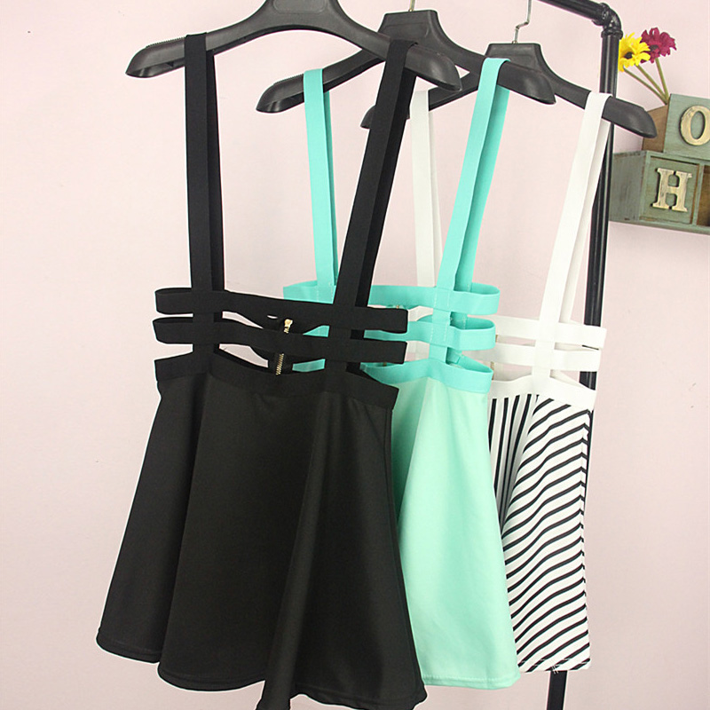 Women Short Pleated Skirt With Elastic Waistband Suspender Bandage Skirt 5 Colors TE27101010001