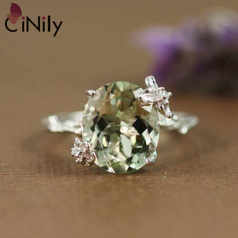 Cinily Jewelry Stone Ring-Size Wedding-Gift Silver-Plated Green Women Zirconia for 6-9