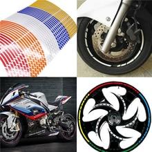 цена на 171819 16Strips Motorcycle Car Wheel Tire Stickers Reflective Rim Tape Motorbike Auto Decals For Yamaha Suzuki Honda kawasaki