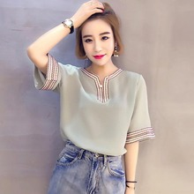 цена на Female V-Neck Chiffon Blouse Short Sleeve Shirt Top Women Embroidery Patchwork Blouse