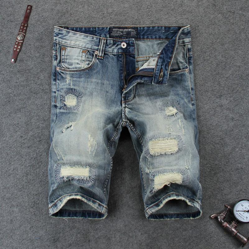 Summer Retro Design Men Jeans Shorts Destroyed Ripped Jeans Men Shorts Fashion Street Man Brand Clothing Denim Shorts Size 29-38 nostalgia retro design fashion men jeans european stylish dimensional knee frayed hole destroyed ripped jeans men biker jeans