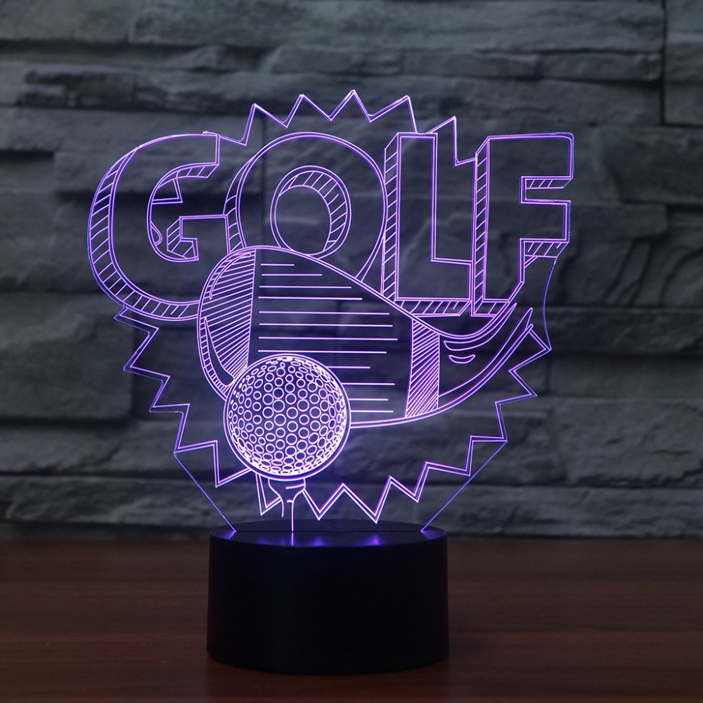 3D Visual Led Night Lights 7 Color Change Golf Light Fixture Golf Enthusiast Gifts Baby Bedside Sleep Decor Table Lamp Modelling