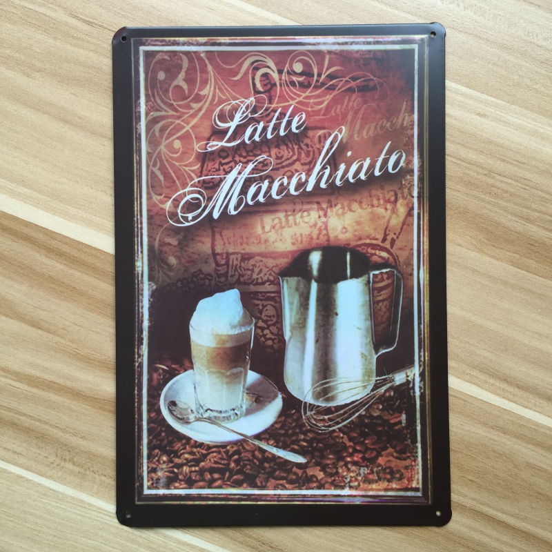 Metal Tin Signs Coffee Latte Wall Art Painting Vintage Kitchen Poster Retro Home Bar Cafe Iron