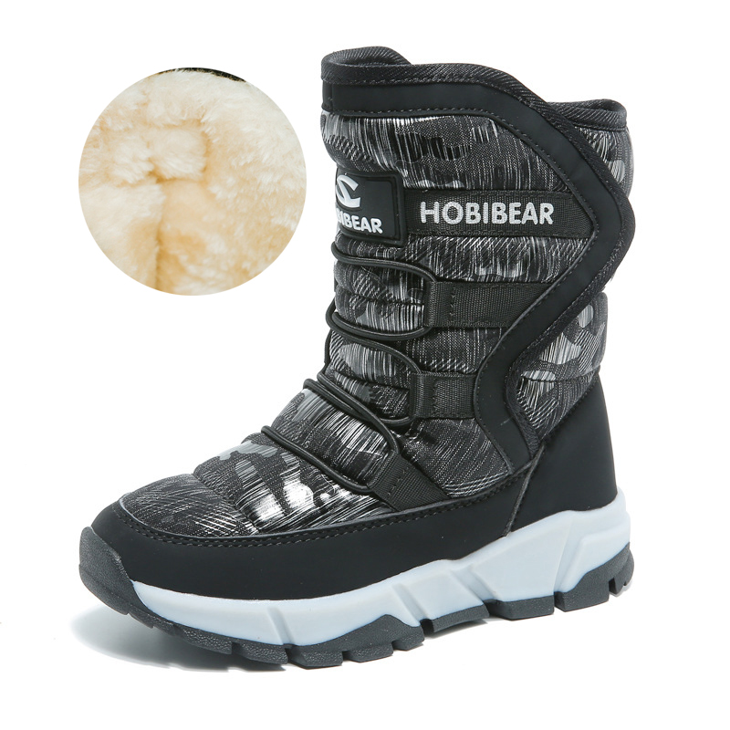 2019 New Russia Winter Children's Snow Boots Boys Girls Fashion Waterproof Warm Shoes 30 Degree Kids Thick Mid Non slip Boots