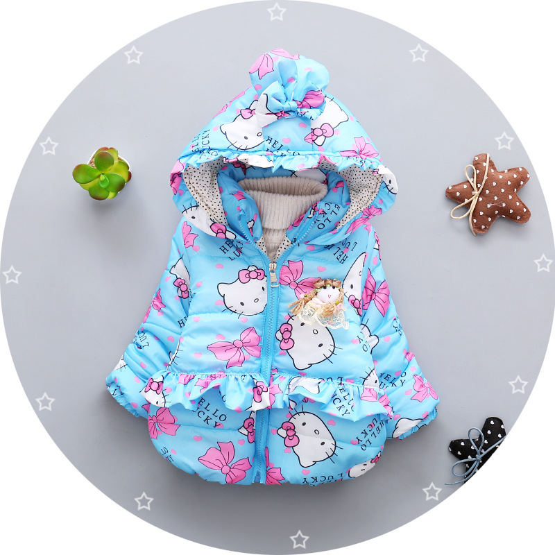 New cartoon cat baby girls Jacket Kids Winter Keeping Warm Cotton Hoodies Coat Children Casual Outerwear Clothing kids plastic frame sunglasses children girls bownot cartoon cat shades eyeglasses oculos de sol crianca baby children sunglasses