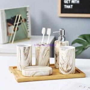 Image 2 - פשוט קרמיקה אספקת חדר האמבטיה חדר אמבטיה קרמיקה 5 חתיכה לטקס בקבוקים/אביזרי אמבטיה צלחת במבוק מגש