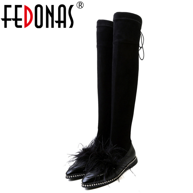 FEDONAS Sexy Women Over The Knee High Boots Rivets Long Dancing Shoes Woman Low Heels Stretch Boots Ladies Autumn Winter Shoes fedonas top fashion women winter over knee long boots women sper thin high heels autumn comfort stretch height boots shoes woman