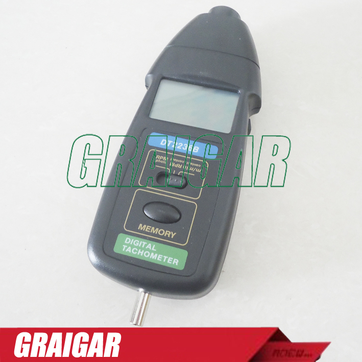 2 Pcs/Lot DT2236B 2 in1 Digital Laser Photo Contact Tachometer RPM Fast Shipping dt 2856 photo touch type tachometer dt2856