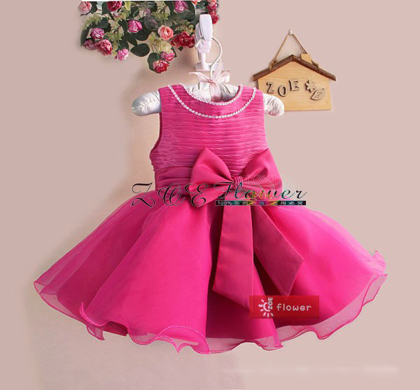 Hot Sale baby party dress girl christmas dress wedding dress top quality big Bow with pearl free shipping