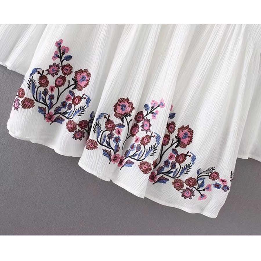 花刺繍aラインミニドレス2018春レーヨンvネックフレア長袖自由奔放に生きるシックなドレスカジュアルヒッピードレス女性