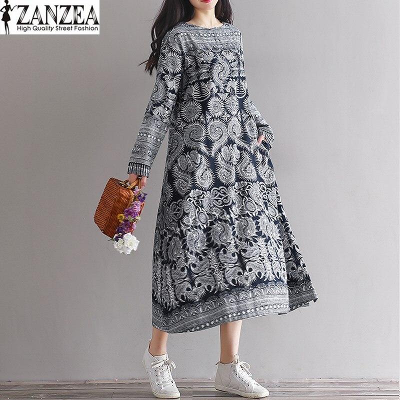 L-5XL ZANZEA Womens Autumn Crew Neck Long Sleeve Casual Party Loose Kaftan Long Vestido Boho Floral Print Tunic Dress 2018