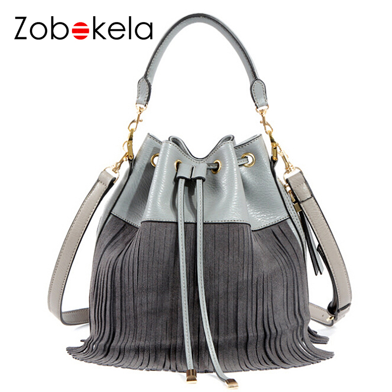 ZOBOKELA Genuine Leather Bag Small Bucket Women Tote Bag Tassels Women Messenger Bag Famous Brand Designer