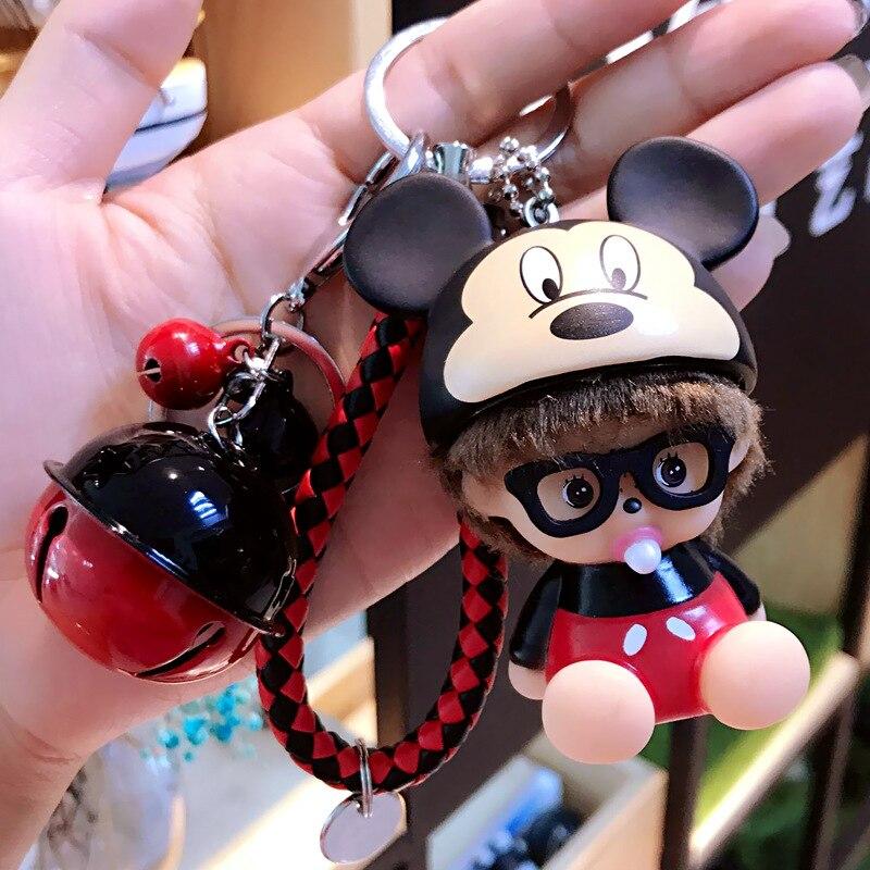 Cute Wear Glasses Kiki Doll Key Chains Iron Man Spider Man Super Hero Monchichi Keychain Bell