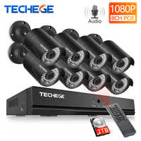 Techege H.265 8CH NVR 48V POE 1080P CCTV System 2MP IP Kamera Audio Record IR Wasserdichte Bewegungs sicherheit Kamera System