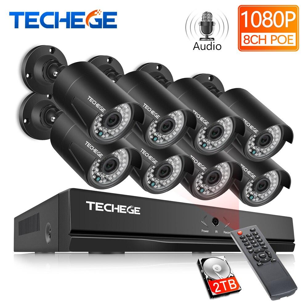 Techege H.265 8CH 2MP 48V POE 1080P CCTV Sistema NVR Câmera IP Gravação de Áudio IR Detecção de Movimento À Prova D' Água sistema de Câmera de segurança