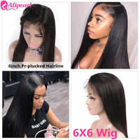 AliPearl 6x6 Lace Closure Wig Human Hair Wigs Pre Plucked Brazilian Straight Lace Wig 130 150 180 250 Density Remy Natural Color
