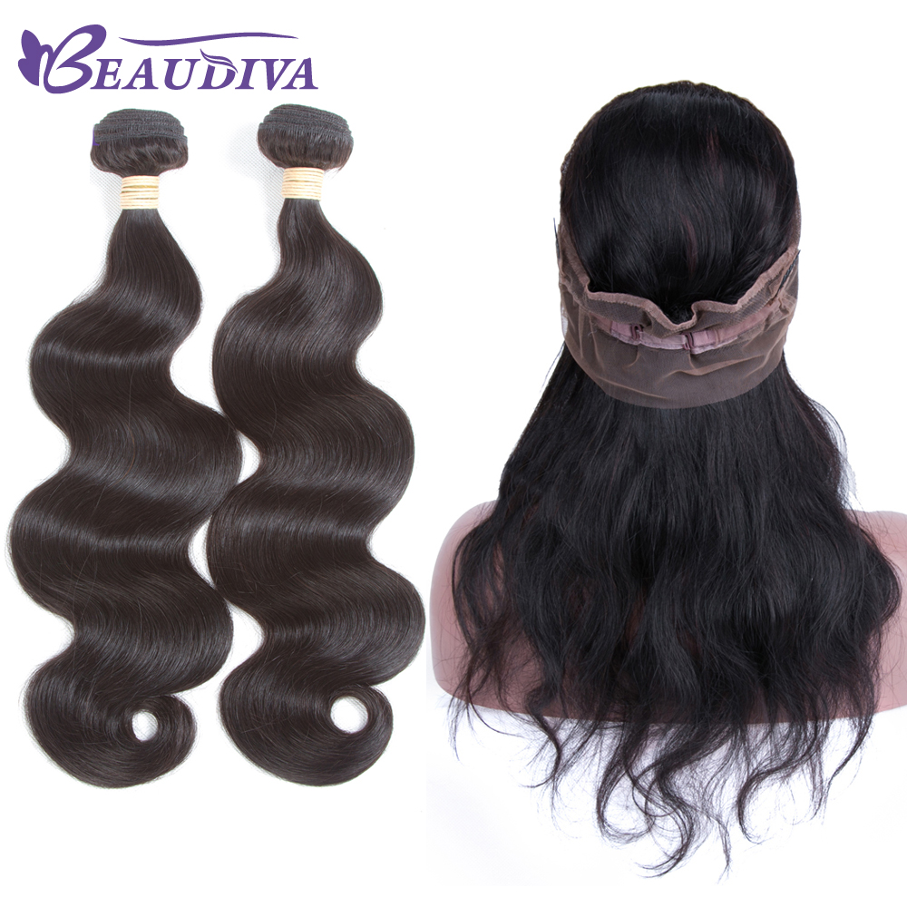 BEAUDIVA 2 Bundles Brazilian Body Wave With Closure 360 Lace Frontal With Bundle Human Hair Extensions Brazilian Hair Bundles