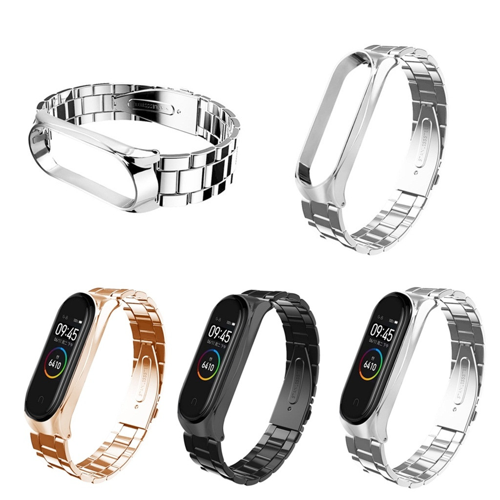 Watchbands Fashion Stainless Steel Luxury Watch Strap Metal Wristband For Xiaomi Mi Band 4 Smart  Watch Band Accessories