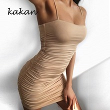 Kakan summer new hot womens dress sexy sling pleat pack hip night shop