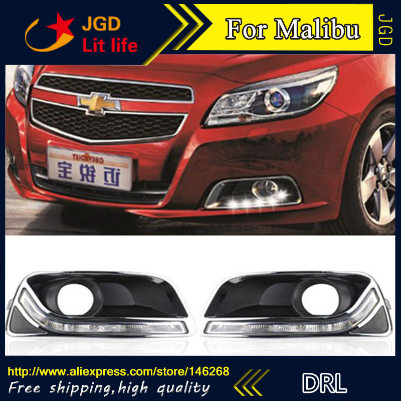 Free shipping ! 12V 6000k LED DRL Daytime running light for Chevrolet Malibu 2011-2013 fog lamp frame Fog light