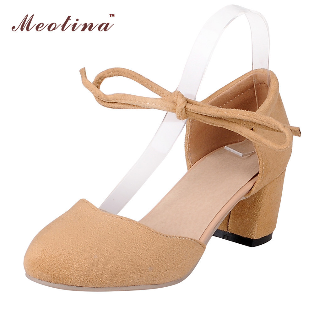 Meotina Ladies Shoes Two Pieces Shoes Women Bow Thick High Heels Round Toe Purple Prom Shoes Spring Summer PinkSmall Size 34 39 meotina brand design mules shoes 2017 women flats spring summer pointed toe kid suede flat shoes ladies slides black size 34 39