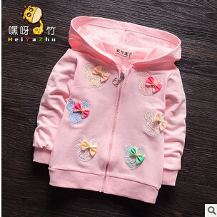 2016 novo bebê Primavera e No Outono jaquetas casuais fino sectionfemale primavera meninas do bebê algodão zipper camisola coa