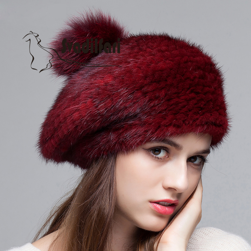 Winter mink fur hat Leather Hat Leather Hat Beret warm winter woven hats. Ms. mink skullies beanies hats knitted hat women 5pcs lot 2299