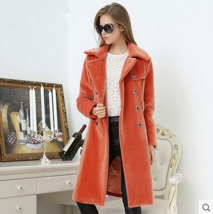 Spring and autumn slim solid color fur coat