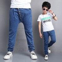 2017 New Boys Pants Jeans Fashion Boys Jeans For Spring Autumn Fall Children's Denim Trousers Kids Dark Blue Designed Pants