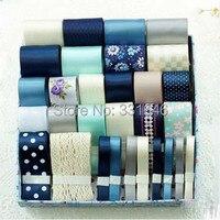 2015NEW, 30M Blue Diy handmade hair bows material accessory decoration ribbon cotton lace grosgrain/satin printed ribbon Set