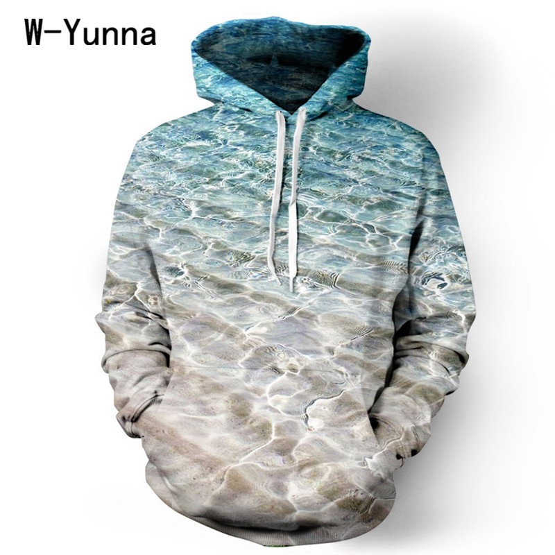 2015 winter 3D printed harajuku sea Waves warm hoodies high quality couple hooded sweatshirt streetwear fashion S-XL tracksuit