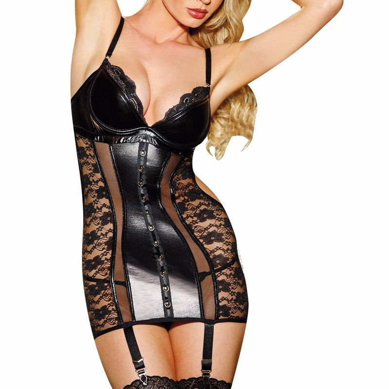 Sexy Transparent Wetlook Vinyl Leather Corset Dress Women Lingerie Seduce Exotic Underwear Black Lace Bustiers For Women Apparel