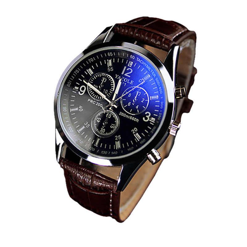 שעוני גברים אופנה שעון יוקרה פו עור Mens כחול Ray זכוכית קוורץ אנלוגי שעונים גברים של אופנה שעוני יד 2018JUL12