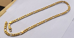 Solid Stamep 585 Hallmarked 24 k Yellow Fine Gold Filled Figaro Chain Link Necklace Lengths 8mm Italian Link 60cm